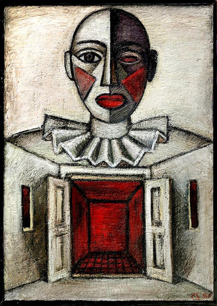 """Der Klappclown, Öl/LW, 1984"