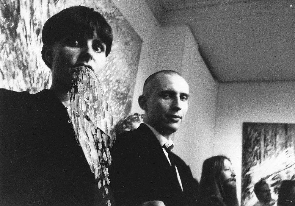 """Ausstellung """"Malstrom"""" im Haus am Waldsee, Westberlin mit Volker Palma (erster Tag Westberlin) 1986"""