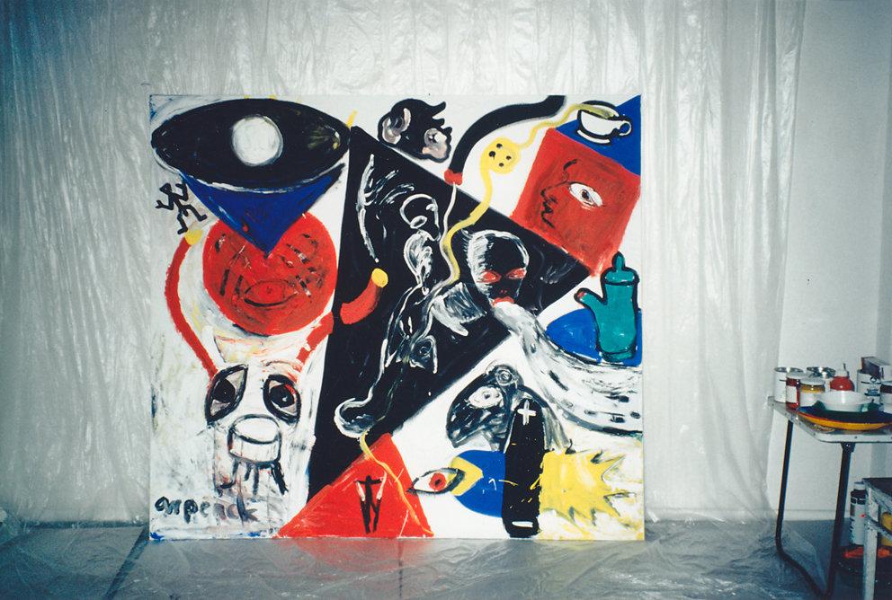 """""""Begegnungen"""", Gemeinschaftsarbeit mit A.R. Penck,  Galerie ozwei, Berlin, 1993"""