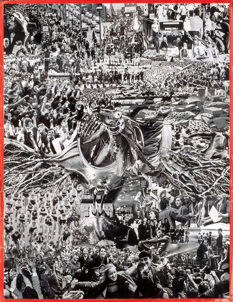 """Collage zu Masse und Macht von Canetti - """"Das Einzelwesen als Abtaucher"""",  66x51, 1978 (befindet sich im Kupferstichkabinett Dresden, Abb in  Kunst in Deutschland seit 1945 von Karin Thomas DUMONT)"""