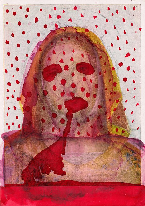 """übermalte Postkarte """"Madonna"""", 1985"""