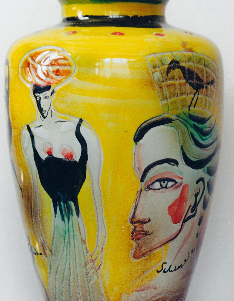 Keramik der Majolika (Abguß Max Laeuger Vase von 1900), 2001Bodenvase (Majolika - Abguß Max Laeuger Vase von 1900), 45cm  hoch, alles Majolika 2001