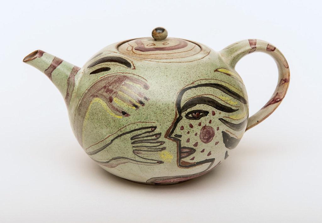 Keramik Wilfriede Maaß, Fayence, Spritztechnik, H 12 cm, 1985