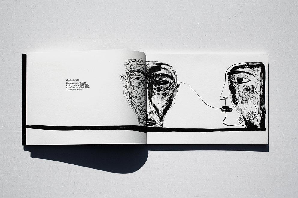 """Originalgrafisches Buch """"Gesichtszüge"""", Original-Stein-Lithographien zu Gedichten von Elke Erb, Verlag Mariannenpresse, Berlin, 1987"""