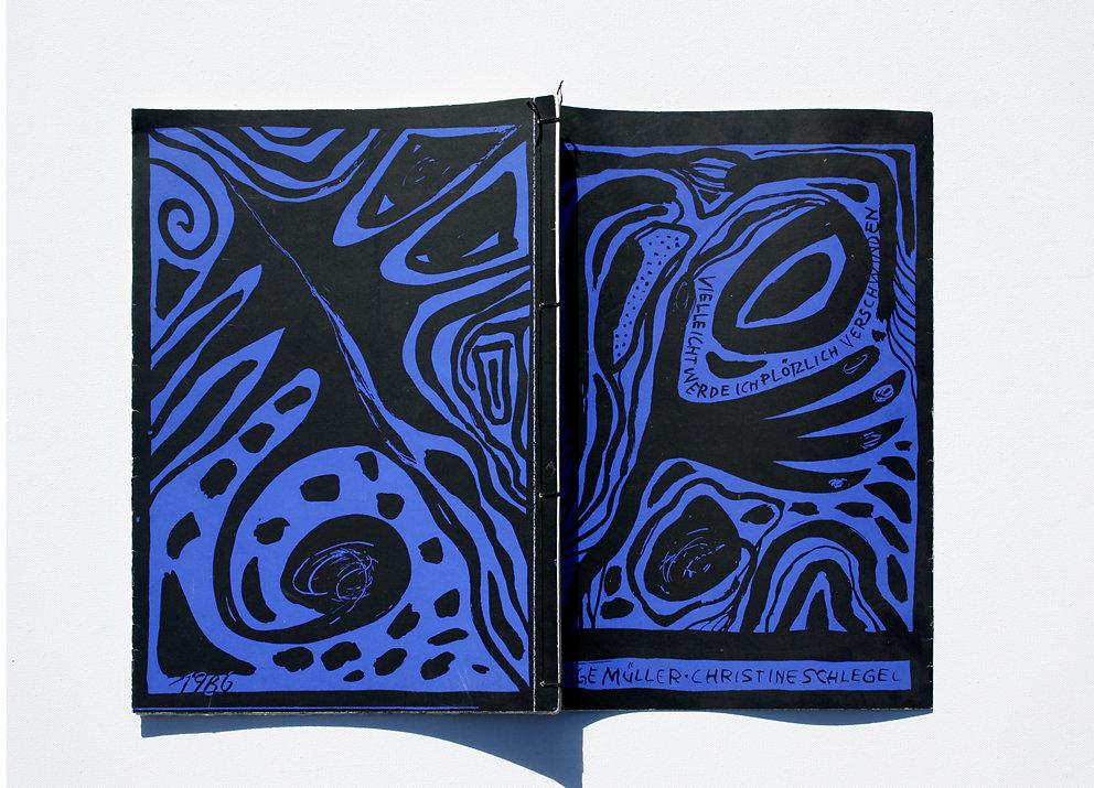 """Originalgrafisches Buch """"Vielleicht werde ich plötzlich verschwinden"""", Original-Siebdruck zu Gedichten von Inge Müller, Eigenverlag, Berlin, 1986"""