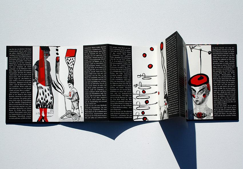 """Originalgrafisches Buch """"Schwere Zeitung"""", Offset / Siebdruck zu einem Text von Durs Grünbein, Verlag Mariannenpresse, Berlin, 1992"""